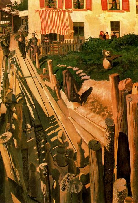 Swiss pista da bowling. Saas Fee di Stanley Spencer (1891-1959, United Kingdom)
