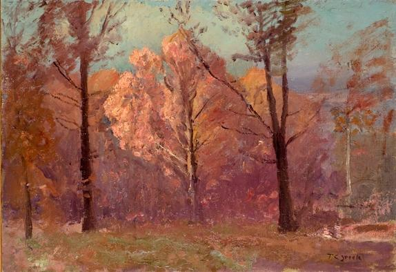 autunno Bianca  quercia  di Theodore Clement Steele (1847-1926, United States)