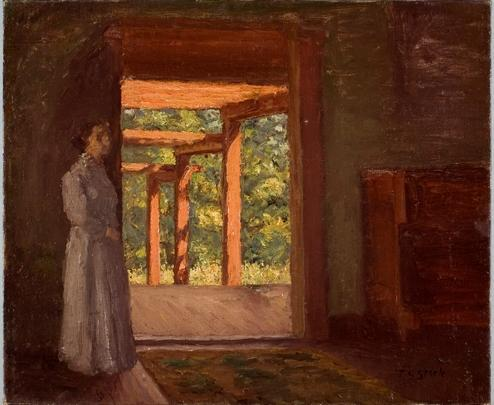 Lady in the Doorway di Theodore Clement Steele (1847-1926, United States)