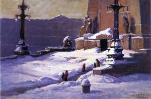 Theodore Clement Steele - monumento nel neve