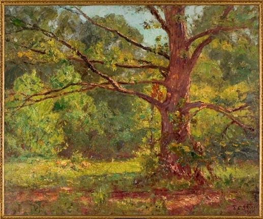 il grande Quercia ( the oak in primavera ) di Theodore Clement Steele (1847-1926, United States) | ArtsDot.com