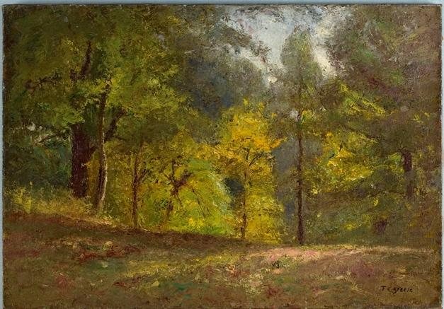 Scene Woodland Bosco  interni  1   di Theodore Clement Steele (1847-1926, United States)