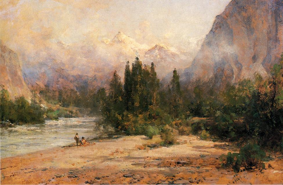 bow river gap a banff , su canadian pacific railroad di Thomas Hill (1829-1908, United Kingdom)