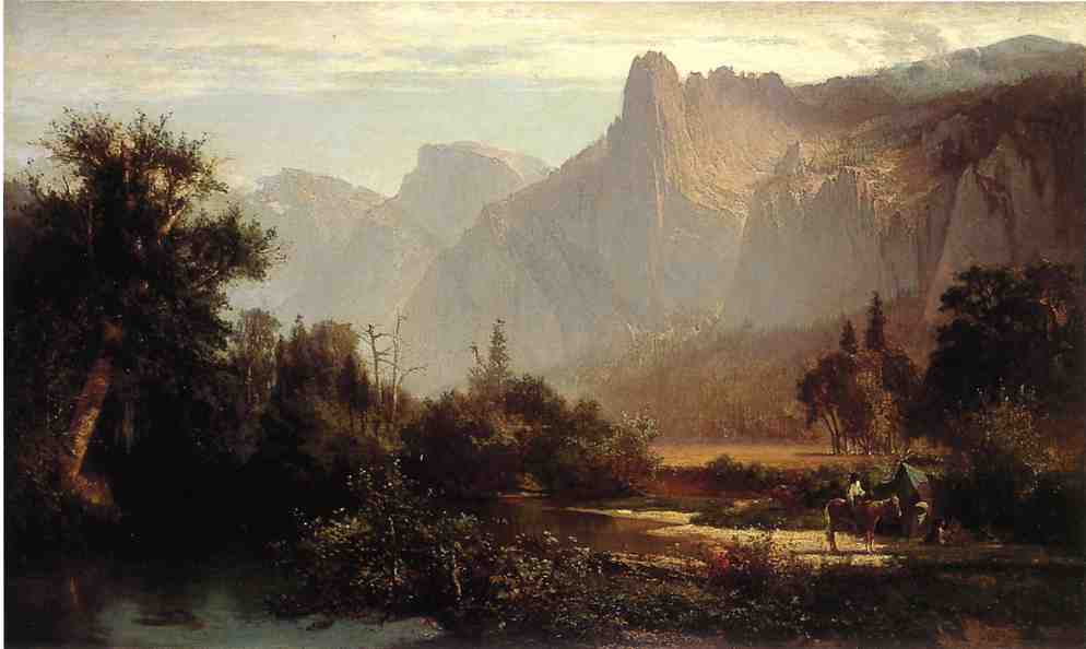 Piute famiglia indiana nella Yosemite Valley., olio su tela di Thomas Hill (1829-1908, United Kingdom)