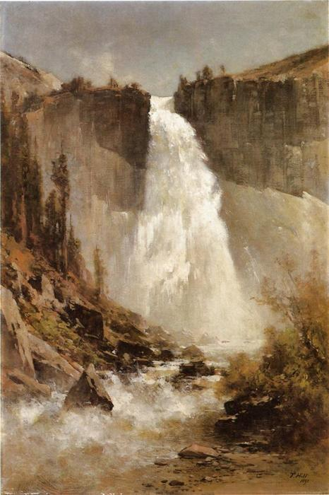 il cascate di yosemite, olio su tela di Thomas Hill (1829-1908, United Kingdom)