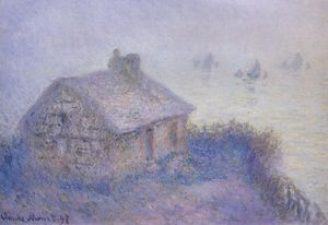 Claude Monet - customs house a varengeville in the fog ( noto anche come blue effect )