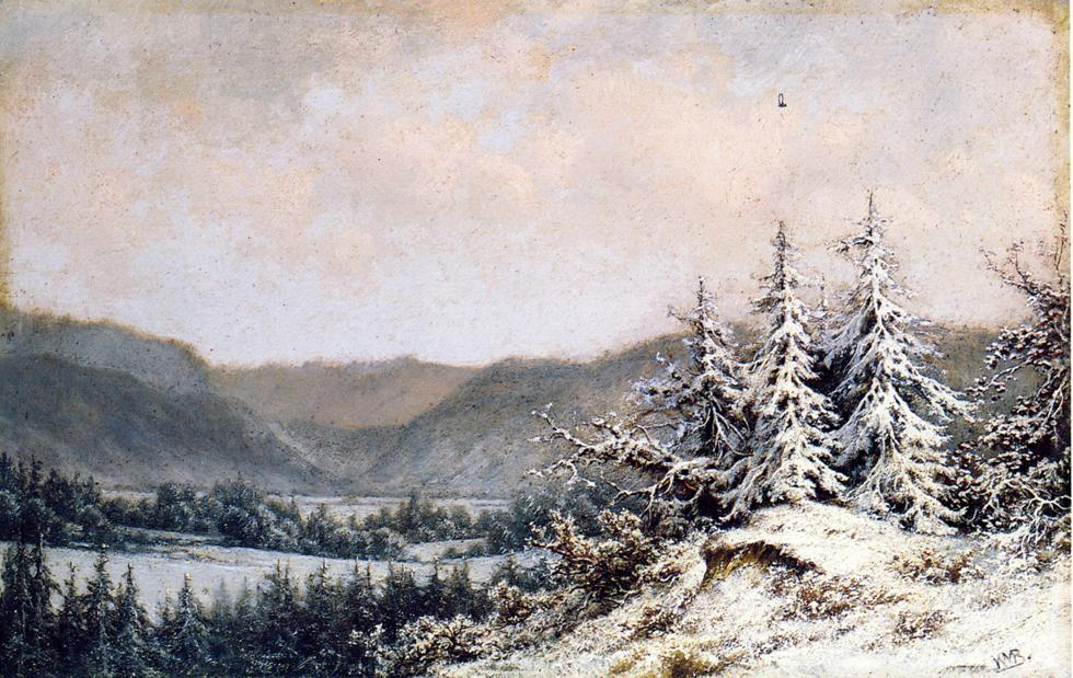 inizio neve, olio su tavola di William Mason Brown (1828-1898, United States)