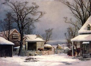 George Henry Durrie - Farmyard, Inverno