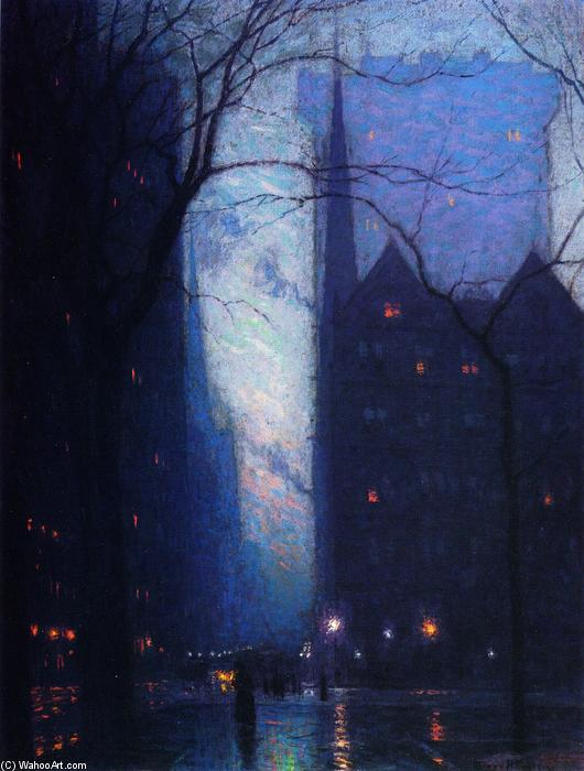Fifth Avenue at Twilight, olio su tela di Lowell Birge Harrison (1854-1929, United States)