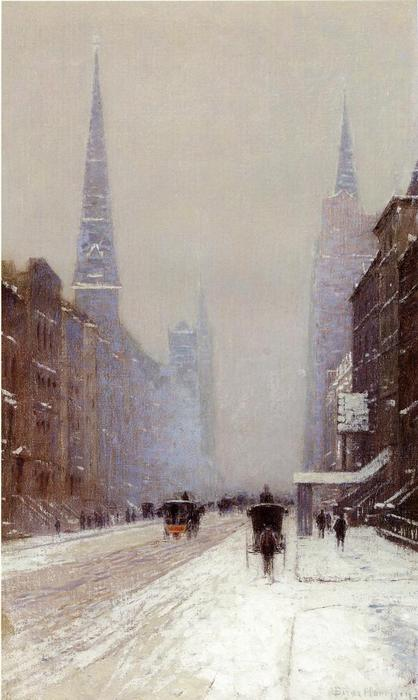 Fifth Avenue in Winter, olio su tela di Lowell Birge Harrison (1854-1929, United States)