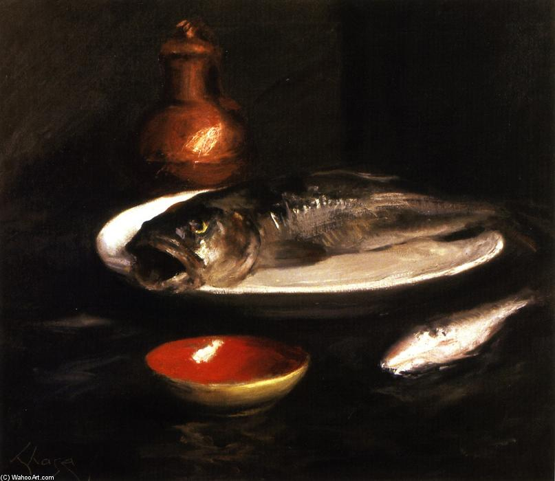 Pesce STILL LIFE, olio su tela di William Merritt Chase (1849-1916, United States)