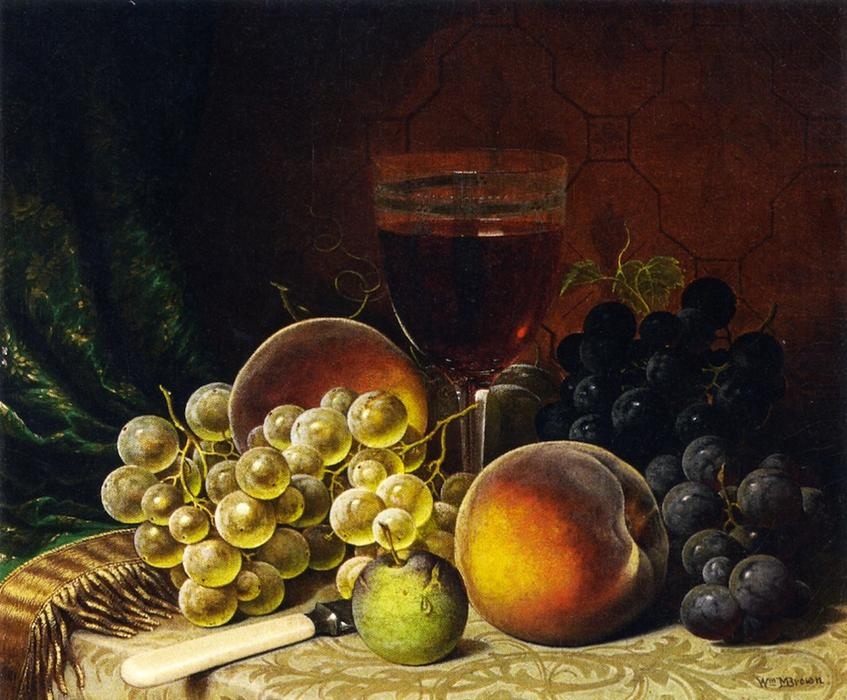 Frutta, olio su tela di William Mason Brown (1828-1898, United States)