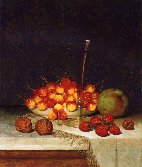 frutta e vino, olio su tela di William Mason Brown (1828-1898, United States)
