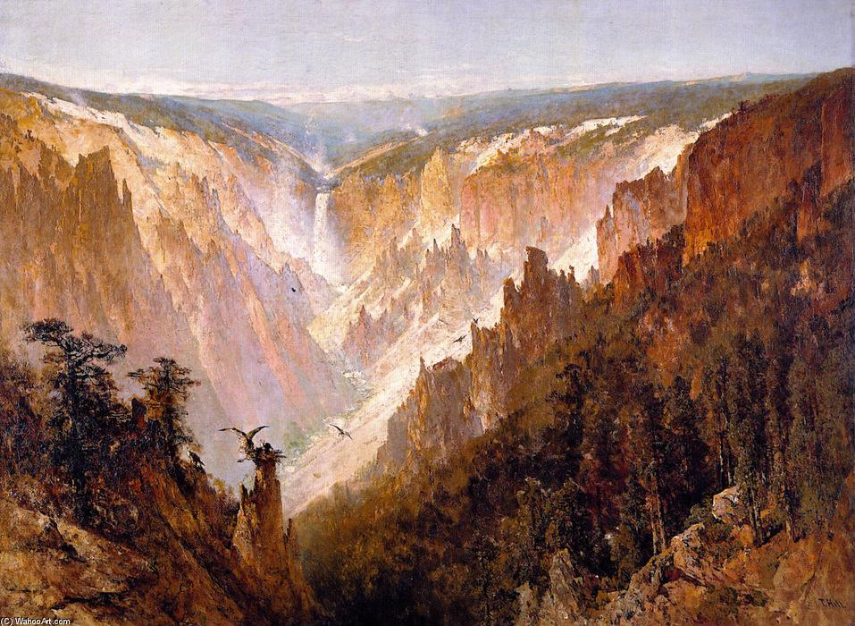 il gran canyon del `yellowstone, olio su tela di Thomas Hill (1829-1908, United Kingdom)