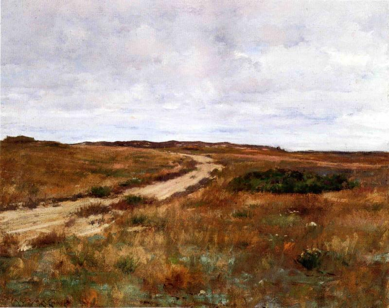 un paesaggio hinterland con road ( nota anche come shinnecock ), olio su tela di William Merritt Chase (1849-1916, United States)