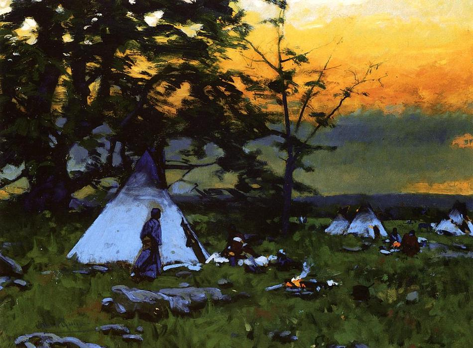 Accampamento indiano, Montana, olio su pannello di William Gilbert Gaul (1855-1919, United States)