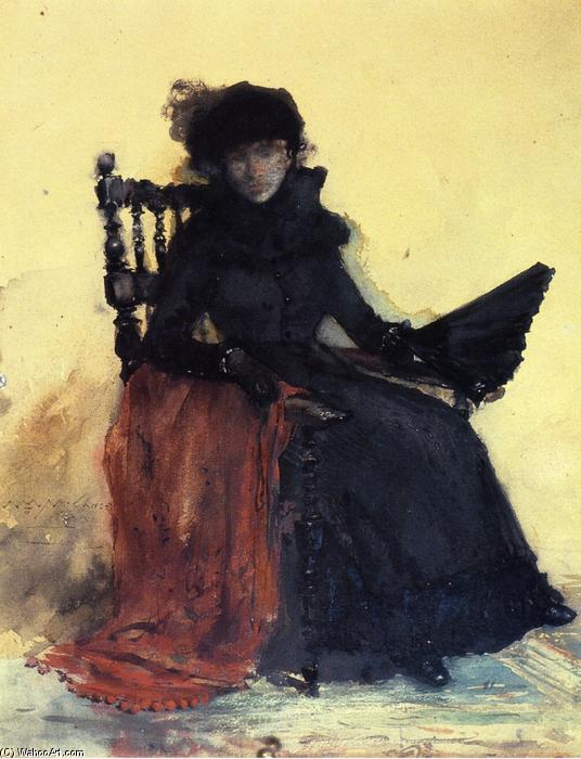 una signora in nero ( noto anche come the red scialle ), acquerello di William Merritt Chase (1849-1916, United States)