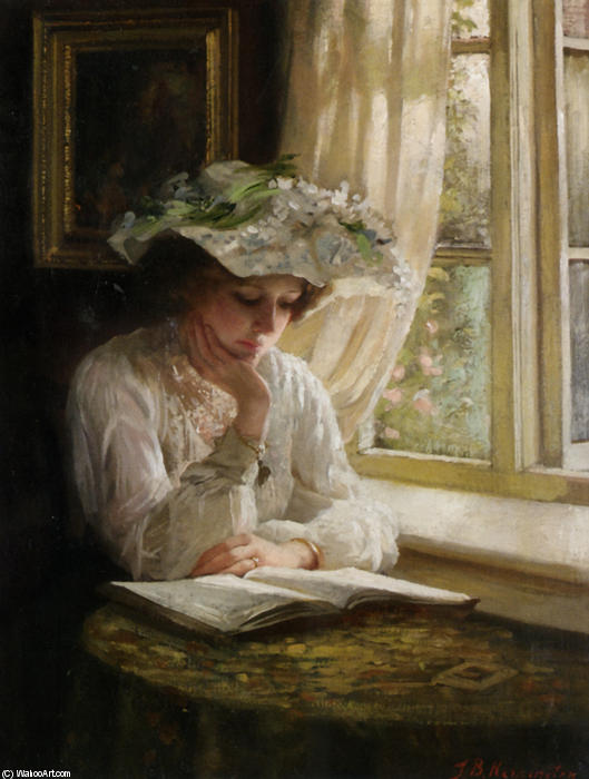 signora leggere di un finestra di Thomas Benjamin Kennington (1856-1916, United Kingdom)