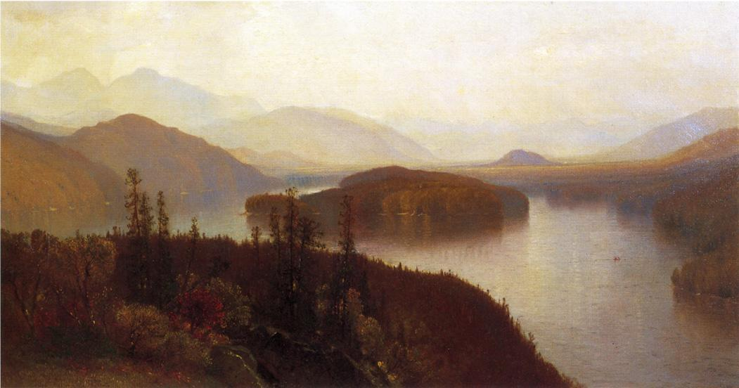 Lake Placid, Adirondacks, olio su tela di Samuel Colman (1832-1920, United Kingdom)