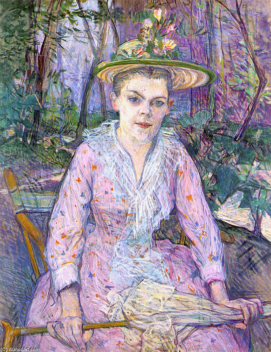 Donna con un ombrello, 1889 di Henri De Toulouse Lautrec (1864-1901, Second French Empire)
