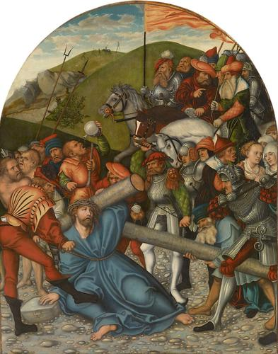 Cristo portacroce cross, olio di Lucas Cranach The Elder (1472-1553, Germany)