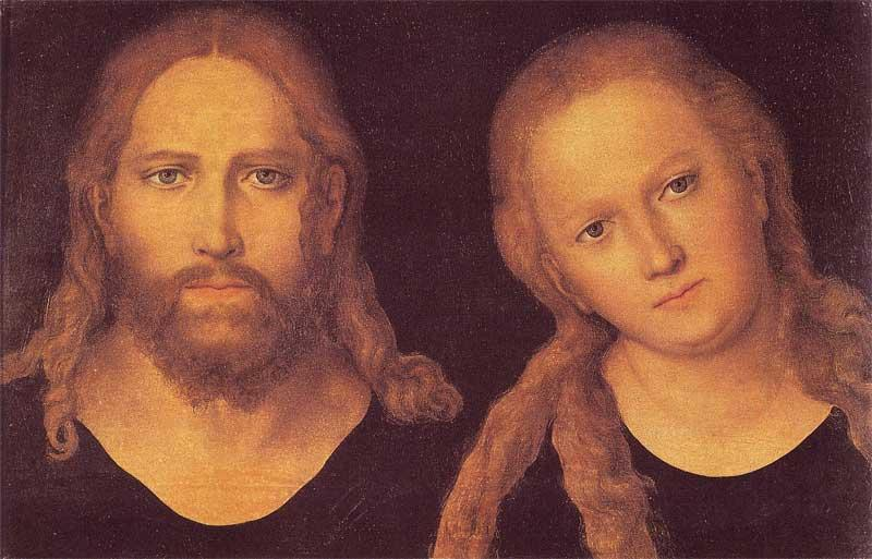 cristo e mary, olio su tavola di Lucas Cranach The Elder (1472-1553, Germany)
