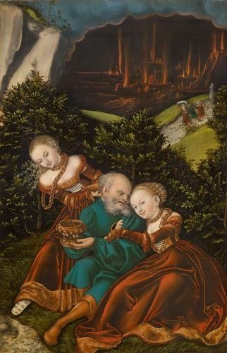 lot` e la sua figlie, olio di Lucas Cranach The Elder (1472-1553, Germany)