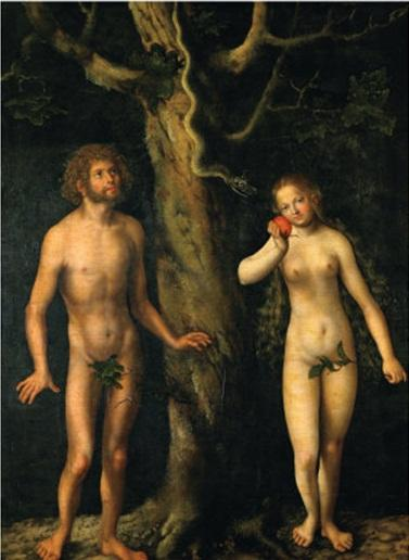 Adam e Eve, olio su tavola di Lucas Cranach The Elder (1472-1553, Germany)