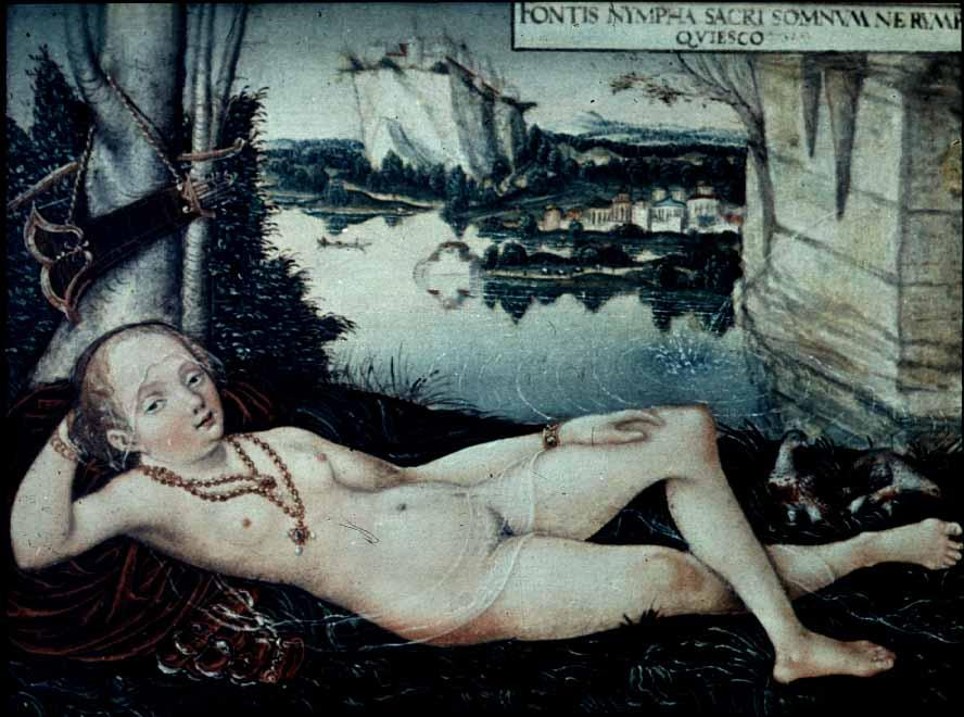 Water Nymph Riposo, 1530 di Lucas Cranach The Elder (1472-1553, Germany)