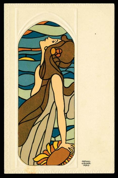 Stained Glass Art di Raphael Kirchner (1875-1917, Austria)