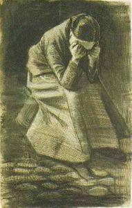 ... Co Vincent Van Gogh - donna seduta su un Cestino con la testa in mani  Vincent Van Gogh - giovane ragazza in piedi contro una sullo sfondo di  frumento f135f94eebe1