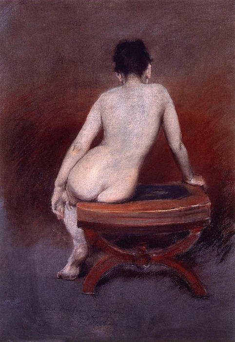 il retro di un Nudo, pastelli di William Merritt Chase (1849-1916, United States)