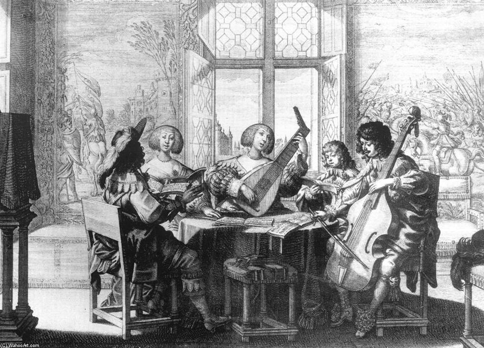 Società Musicale, incisione di Abraham Bosse (1603-1676, France)