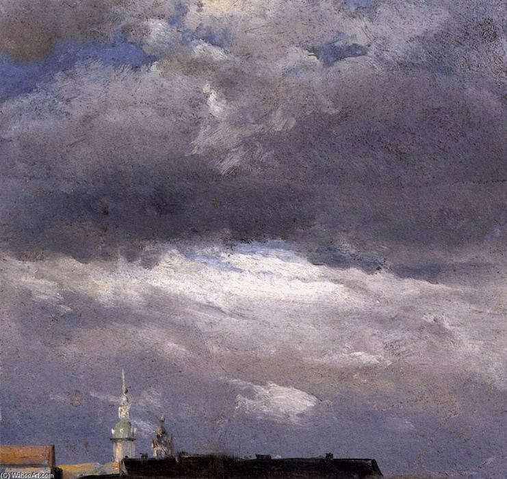 nube studio , thunder nuvole over il palazzo Tower a Dresden, olio di Johan Christian Clausen Dahl (1788-1857, Norway)