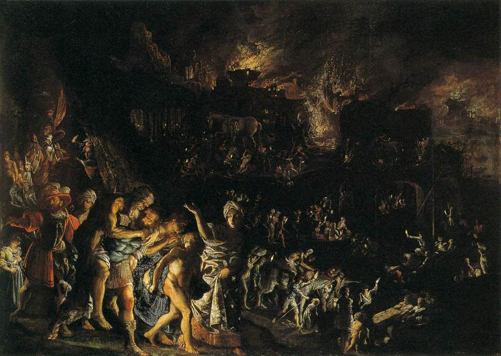 The Burning di Troia, 1601 di Adam Elsheimer (1578-1610, Germany) | Copia Pittura | ArtsDot.com
