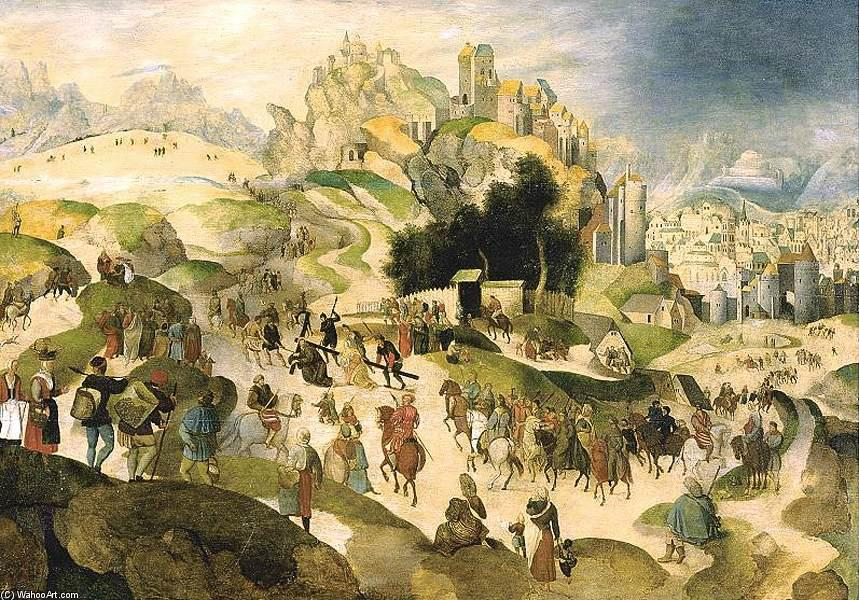 The Road to Calvary, olio su pannello di Abel Grimmer (1570-1620, Belgium)