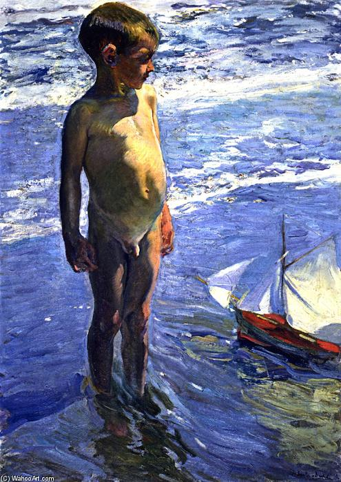 The Little Boatman, olio su tela di Joaquin Sorolla Y Bastida (1863-1923, Spain)