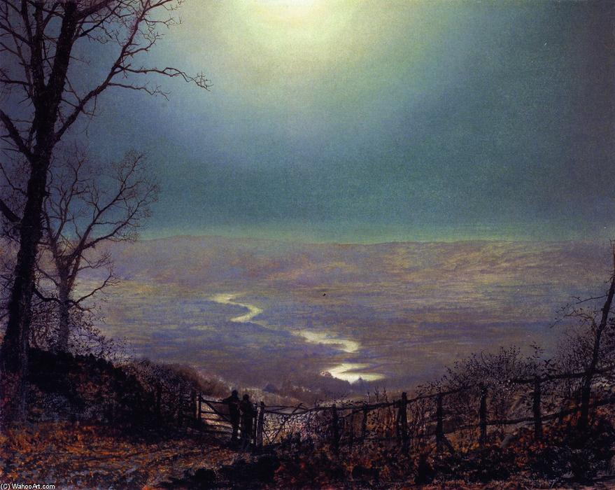 Moonlight, Wharfedale, pittura di John Atkinson Grimshaw (1836-1893, United Kingdom)