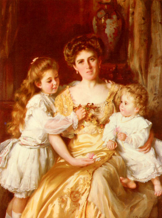 L amore di una madre di Thomas Benjamin Kennington (1856-1916, United Kingdom)