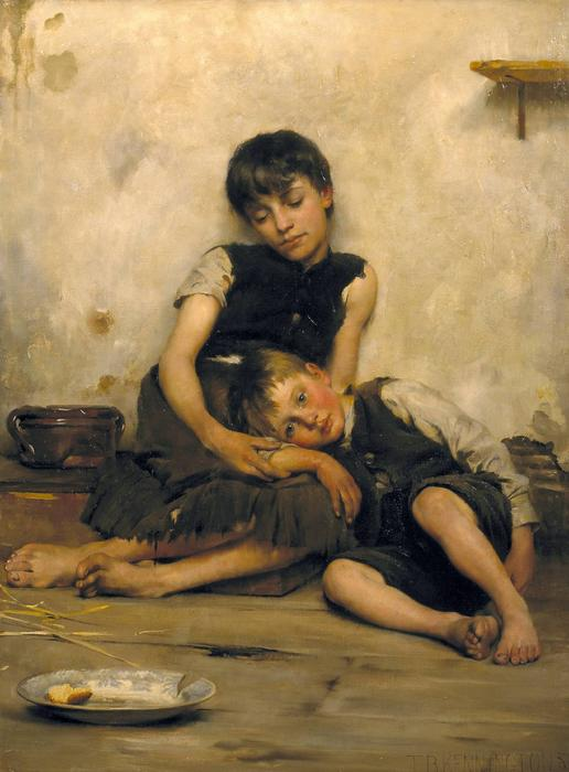 Orfani, olio su tela di Thomas Benjamin Kennington (1856-1916, United Kingdom)