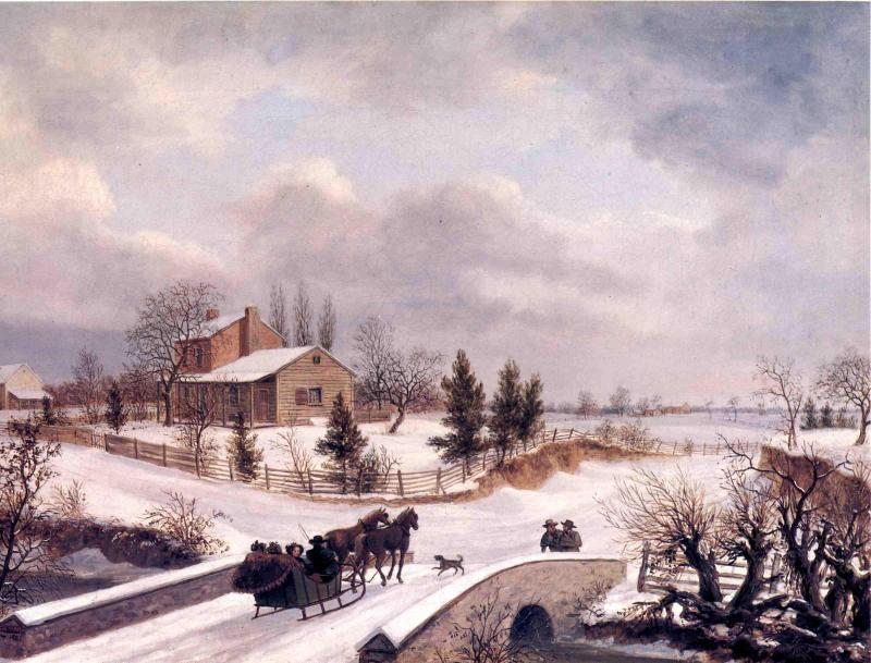 Pennsylvania inverno scena, olio su tela di Thomas Birch (1779-1851, United Kingdom)
