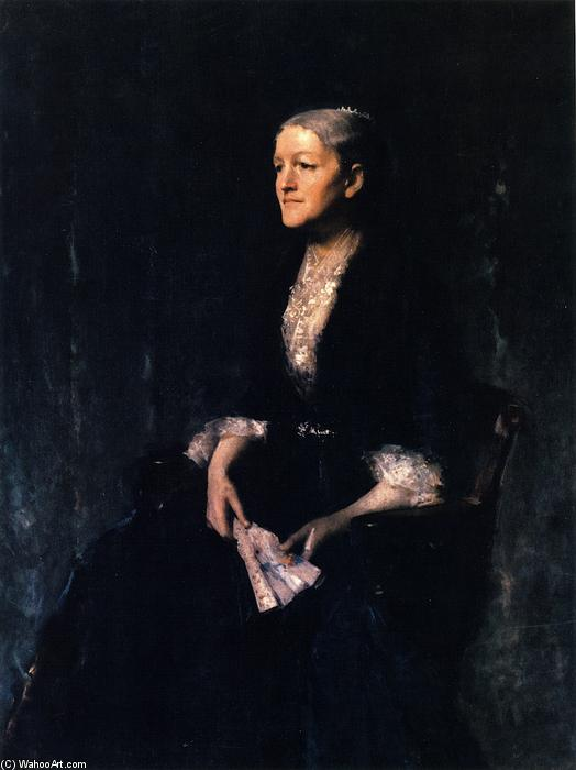 ritratto di signora . Sol ( cornelia rogers huntington greer ), olio su tela di William Merritt Chase (1849-1916, United States)
