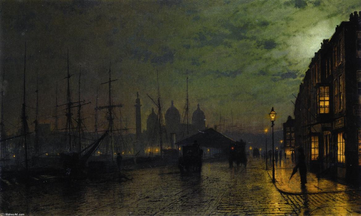 Princes Dock, Hull, affreschi di John Atkinson Grimshaw (1836-1893, United Kingdom)