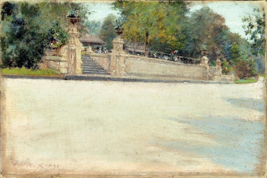 Prospect Park, Brooklyn, disegno di William Merritt Chase (1849-1916, United States)
