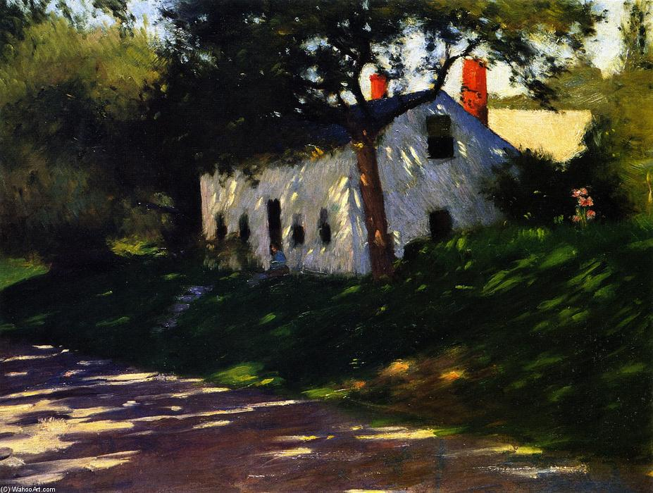 Roadside Cottage, Medfield, Massachusetts., olio su tela di Dennis Miller Bunker (1861-1890, United States)
