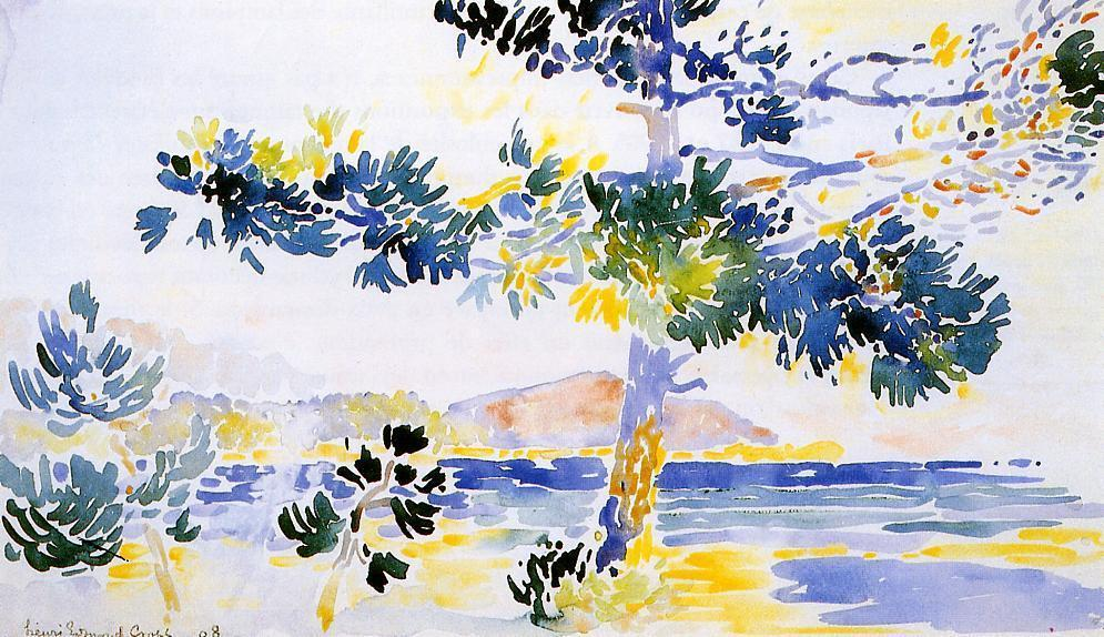 Saint-Clair Paesaggio, acquerello di Henri Edmond Cross (1856-1910, France)