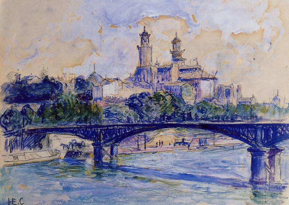 La Senna dal Trocadero, acquerello di Henri Edmond Cross (1856-1910, France)
