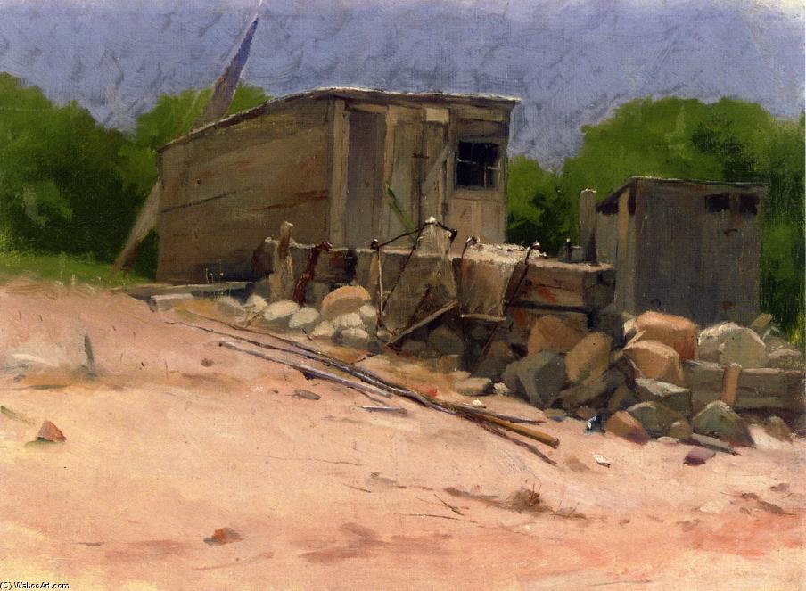 The Shed, olio su tela di Dennis Miller Bunker (1861-1890, United States)