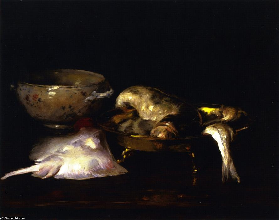 natura morta pesci , olio su tela di William Merritt Chase (1849-1916, United States)