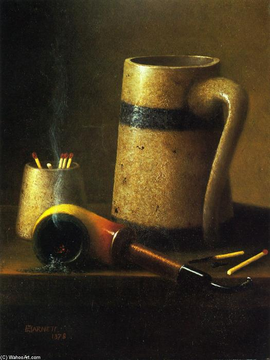 Still life, tubi e Mug, olio su tela di William Michael Harnett (1848-1892, Ireland)